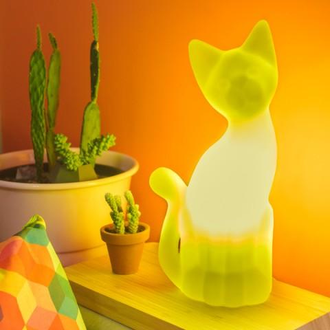 Luminária Gato Magrelo Amarelo