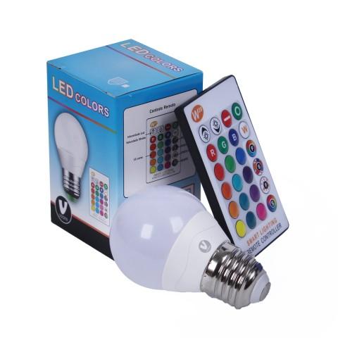Lâmpada LED RGB Bivolt com Controle Remoto