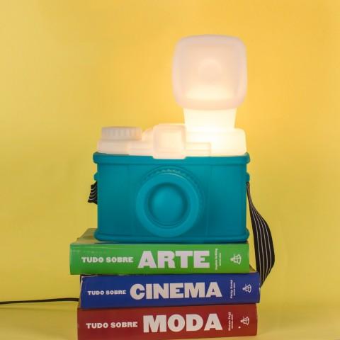 Luminária Câmera Retrô Verde Água