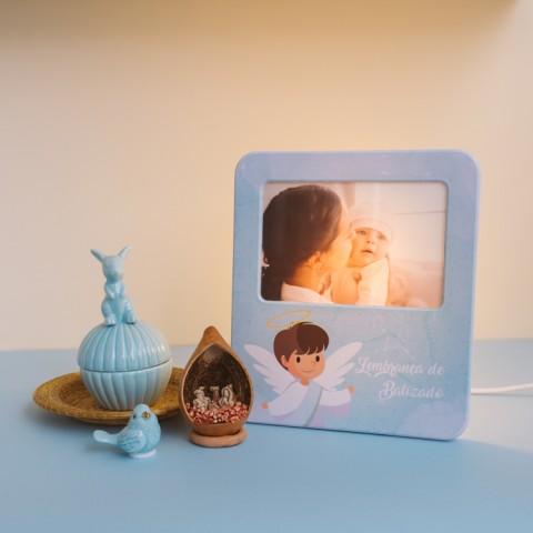 Luminária Porta Retrato Lembrança de Batizado Azul
