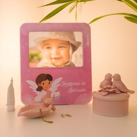Luminária Porta Retrato Lembrança de Batizado Rosa