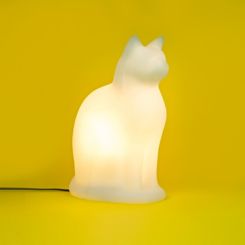 Luminária Gato Sentado Branco