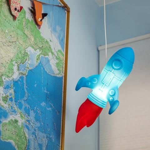 Luminária Pendente Foguete Azul