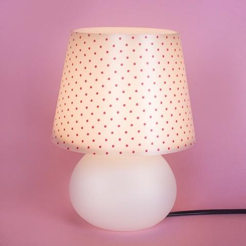 Abajur Micro Lampe Capa Poá Rosa