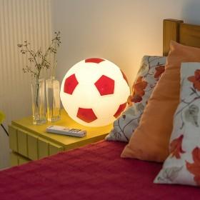 Luminária Bola de Futebol- Branco e Vermelho
